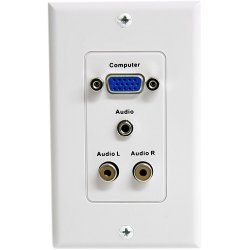 StarTech - VGAPLATERCA - StarTech.com 15-Pin Female VGA Wall Plate with 3.5mm and RCA - White - 1-gang - D-sub VGA