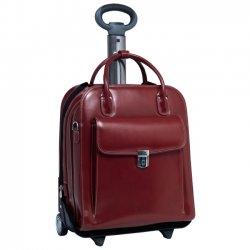 """McKlein / Siamod - 96496 - McKleinUSA La Grange W Series 96496 Vertical Detachable-Wheeled Ladies' Briefcase - Briefcase - Shoulder Strap , Hand Strap , Handle - 15.4"""" Screen Support - Leather - Red"""