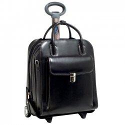 """McKlein / Siamod - 96495 - McKleinUSA La Grange W Series 96495 Vertical Detachable-Wheeled Ladies' Briefcase - Briefcase - Shoulder Strap , Hand Strap , Handle - 15.4"""" Screen Support - Leather - Black"""