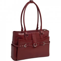 "McKlein / Siamod - 96546 - McKleinUSA Alexis W Series 96546 Ladies' Briefcase - Briefcase - Shoulder Strap - 2 Pocket15.4"" Screen Support - Leather - Red"