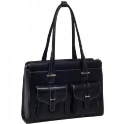 "McKlein / Siamod - 96545 - McKleinUSA Alexis W Series 96545 Ladies' Briefcase - Briefcase - Shoulder Strap - 2 Pocket15.4"" Screen Support - Leather - Black"