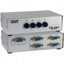 QVS - CA298-4P - QVS VGA Switch - 1280 x 1024 - SXGA - 4 x 11 x VGA Out