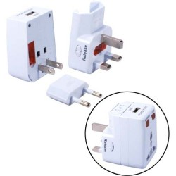 QVS - PA-C2 - QVS World Power Travel Adapter Kit with Surge Protection & USB Charger - 120 V AC, 230 V AC Input Voltage - 5 V DC Output Voltage - 1 A Output Current