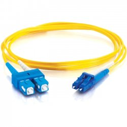C2G (Cables To Go) - 11194 - 8m LC-SC 9/125 OS1 Duplex Singlemode Fiber Optic Cable (TAA Compliant) - Yellow - Fiber Optic for Network Device - LC Male - SC Male - 9/125 - Duplex Singlemode - OS1 - TAA Compliant - 8m - Yellow