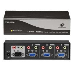 ConnectPro - VSE-103A - Connectpro VSE-103A, 3-port 400MHz Video/Audio Splitter - 1 x Video In, 3 x Video Out, 1 x Audio Line In, 3 x Audio Line Out - 2048 x 1536 - VGA, SVGA, XGA, SXGA, UXGA, WUXGA, WSXGA+, QXGA