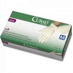 Medline - CUR8103 - Curad Powder Free Latex Exam Gloves - X-Small Size - Latex - White - Powder-free, Textured - For Healthcare Working - 100 / Box
