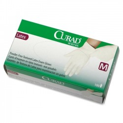 Medline - CUR8105H - Curad Powder-Free Textured Latex Exam Gloves - Medium Size - Latex - Beige - Powder-free, Beaded Cuff, Non-sterile, Textured - 100 / Box