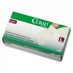 Medline - CUR8106H - Curad Powder-Free Textured Latex Exam Gloves - Large Size - Latex - Beige - Powder-free, Beaded Cuff, Non-sterile, Textured - 100 / Box