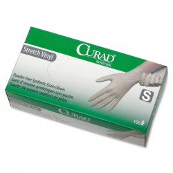 Medline - CUR8224H - Curad Stretch Vinyl Exam Gloves - Small Size - Vinyl - Stretchable, Powder-free, Latex-free, Non-sterile, Beaded Cuff, Textured - For Medical - 100 / Box
