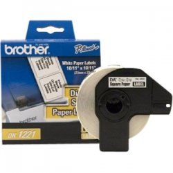 "Brother International - DK1221 - Brother DK1221 - Square White Paper Adhesive Labels - 0.9"" Width x 0.9"" Length (23 mm square)"