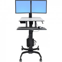 Ergotron - 24-214-085 - Ergotron WorkFit-C Dual Sit-Stand Workstation - Up to 22 Screen Support - 28 lb Load Capacity - 23.9 Width x 22.8 Depth - Powder Coated - Steel, Plastic - Black, Gray