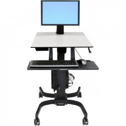 Ergotron - 24-216-085 - Ergotron WorkFit-C Single HD Sit Stand Workstation - Up to 30 Screen Support - 28 lb Load Capacity - 23.9 Width x 22.8 Depth - Powder Coated - Steel, Plastic - Gray, Black