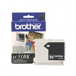 Brother International - LC51BK - Brother LC51BK - Black - original - ink cartridge - for Brother DCP-130, 330, 350, 540, MFC-230, 3360, 440, 465, 5460, 5860, 665, 685, 845, 885