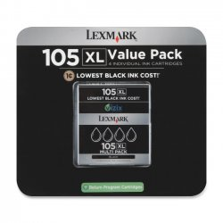 Lexmark - 14N0843 - Lexmark No. 105XL High Yield Return Program Ink Cartridge - Inkjet - High Yield - 2040 Page (Per Cartridge) - 4 / Pack