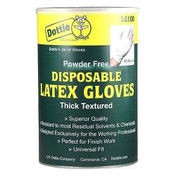 L.H. Dottie - LG100 - L.H. Dottie Latex Gloves - Latex - Chemical Resistant, Powder-free - 100 / Jar