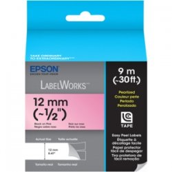 Epson - LC-4RBL9 - Epson Pearlized LC Tape Cartridge Black on Pink - 1/2 Width x 30 ft Length - Thermal Transfer - Pink - 1 Roll