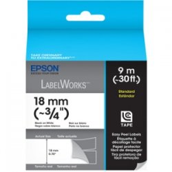 Epson - LC-5WBN9 - Epson Standard Label Cartridge Label Tape Black on White - 45/64 Width x 30 ft Length - Thermal Transfer - White - 1 Roll