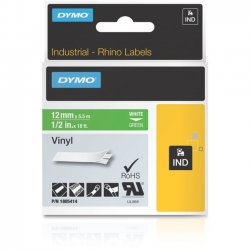 DYMO - 1805414 - Dymo White 0n Green Color Coded Label - Permanent Adhesive - 1/2 Width x 18 3/64 ft Length - Thermal Transfer - Green - Vinyl