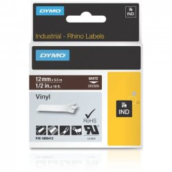 DYMO - 1805412 - Dymo White on Brown Color Coded Label - Permanent Adhesive - 12 Width x 18 ft Length - Thermal Transfer - Brown - Vinyl