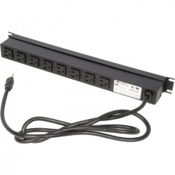 Rack Solution - PS19-R8-15-K - Rack Solutions 15A Horizontal Power Strip, Rear Outlet, 15ft Cord - NEMA 5-15P - 8 x NEMA 5-15R - 15 ft Cord - 15 A Current - 120 V AC Voltage - Horizontal Rackmount
