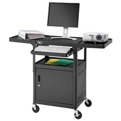 "Da-Lite - AT2C-42JFS - Da-Lite PIXMobile AT2C-42JFS Projector Cart - 3 Shelf - 4 Casters - 4"" Caster Size - 24"" Width x 18"" Depth x 42"" Height - Black, Metallic Silver"