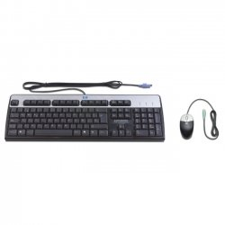 Hewlett Packard (HP) - RC464AA#ABA - HP PS/2 Keyboard and Mouse - Keyboard - Cable - English (US) - Mouse