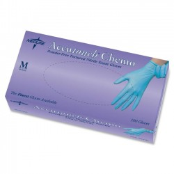 Medline - MDS192085 - Accutouch Powder-Free Latex-Free Nitrile Exam Gloves - Medium Size - Nitrile - Blue - Powder-free, Latex-free, Non-sterile, Beaded Cuff, Textured - For Medical - 1000 / Carton