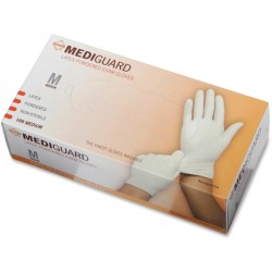 Medline - MG1205 - MediGuard Non-Sterile Powdered Latex Exam Gloves - Medium Size - Latex - Beige - Powdered, Beaded Cuff, Non-sterile, Textured - For Medical - 100 / Box