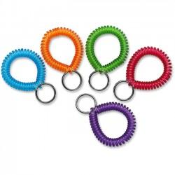 MMF Industries - 20145AP47 - MMF Wrist Coil Key Rings - Plastic - 10 / Box - Assorted