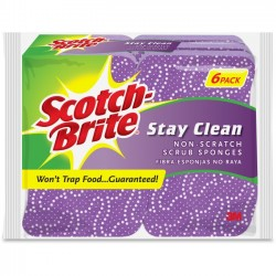 3M - 202066 - Scotch-Brite -Brite Stay Clean Scrub Sponges - 4.8 Height x 3.2 Width x 850 mil Thickness - 6/Pack - Cellulose - Purple