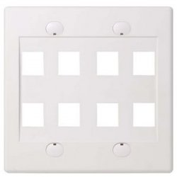 Belkin / Linksys - F4E469-8-WHT - Belkin 8 Socket Faceplate - 8 x Socket(s) - 2-gang - White
