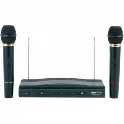 Naxa - NAM-984 - Naxa Professional Dual Wireless Microphone Kit - 110 MHz to 270 MHz Operating Frequency - 80 Hz to 12 kHz Frequency Response - 98.43 ft Operating Range