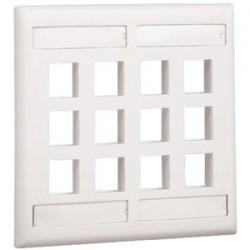 Panduit - NK12FIGY - PANDUIT 12 Socket NetKey Faceplate - 12 x Socket(s) - 2-gang - Light Gray