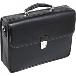 McKlein / Siamod - 15145 - McKleinUSA 15.4 Leather Double Compartment Laptop Briefcase - Flap - Shoulder Strap , Hand Strap - 15.4 Screen Support - Leather - Black