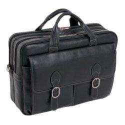 McKlein / Siamod - 15735C - McKleinUSA 15.4 Leather Double Compartment Laptop Briefcase - Calfskin Leather - Shoulder Strap, Handle - 12 Height x 16.5 Width x 5 Depth