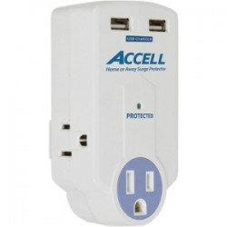 Accell - D080B-010K - Accell Travel Surge Protector with Dual USB Charging - 3, 2 x USB - 1800 VA - 612 J - 120 V AC Input - 120 V AC, 5 V DC Output