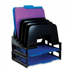 OfficeMate - 22112 - OIC Tray/Incline Sorter Combo - 5 Compartment(s) - 14 Height x 9.1 Width x 13.5 Depth - Desktop - Black - 1 / Pack