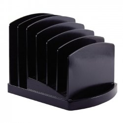 OfficeMate - 22222 - OIC 2200 Series 6 Compart. Incline Sorter - 2 Pocket(s) - 6 Compartment(s) - 6.4 Height x 7.5 Width x 7.5 Depth - Desktop - Black - Plastic - 1Each