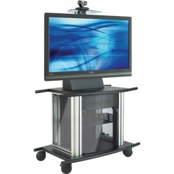 Avteq - GMX-250S - Avteq GMX-250S Solid Steel Cart - Up to 42 Screen Support - 300 lb Load Capacity - 1 x Shelf(ves) - 31 Height x 41 Width x 27 Depth - Aluminum, Glass, Steel - Black, Silver