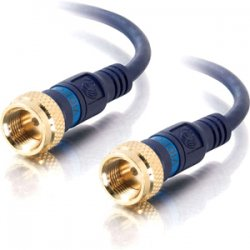C2G (Cables To Go) - 29123 - C2G 50ft Velocity Mini-Coax F-Type Cable - F Connector Male - F Connector Male - 50ft - Blue