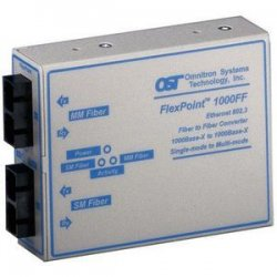 Omnitron - 4440-0 - FlexPoint 1000Mbps Gigabit Ethernet Fiber to Fiber Media Converter SC Multimode 550m to Single-Mode 34km - 1 x 1000BASE-SX;1 x 1000BASE-LX;No Power Adapter;Lifetime Warranty