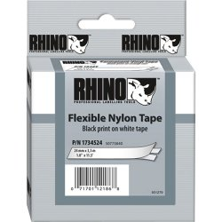 "DYMO - 1734524 - Dymo Flexible Nylon Label Tape - 0.94"" Width x 11.50 ft Length - Rectangle - Thermal Transfer - White - Nylon - 1 Each"