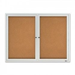 Acco Brands - 2124 - Quartet Enclosed Cork Bulletin Board for Outdoor Use, 4' x 3', 2 Door, Aluminum Frame - 36 Height x 48 Width - Brown Cork Surface - Silver Aluminum Frame - 1 / Each