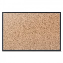 Acco Brands - 2301B - Quartet Cork Bulletin Board, 24 x 18, Black Aluminum Frame - 18 Height x 24 Width - Brown Natural Cork Surface - Black Aluminum Frame - 1 / Each