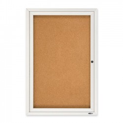 Acco Brands - 2363 - Quartet Enclosed Cork Bulletin Board for Indoor Use, 2' x 3', 1 Door, Aluminum Frame - 36 Height x 24 Width - Brown Natural Cork Surface - Silver Aluminum Frame - 1 / Each