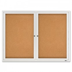 Acco Brands - 2364 - Quartet Enclosed Cork Bulletin Board for Indoor Use, 4' x 3', 2 Door, Aluminum Frame - 36 Height x 48 Width - Brown Natural Cork Surface - Silver Aluminum Frame - 1 / Each