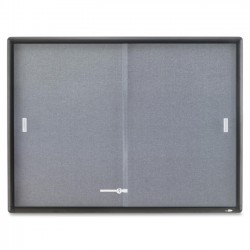 Acco Brands - 2364S - Quartet Enclosed Fabric Bulletin Board, 4' x 3', Sliding Door, Graphite Frame - 36 Height x 48 Width - Gray Fabric Surface - Graphite Frame - 1 / Each