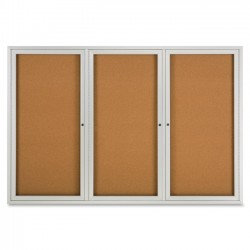 Acco Brands - 2367 - Quartet Enclosed Cork Bulletin Board for Indoor Use, 6' x 4', 3 Door, Aluminum Frame - 48 Height x 72 Width - Brown Natural Cork Surface - Silver Aluminum Frame - 1 / Each