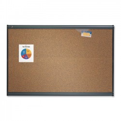 Acco Brands - B247G - Quartet Prestige Colored Cork Bulletin Board, 6' x 4', Graphite Finish Frame - 48 Height x 72 Width - Brown Cork Surface - Graphite Frame - 1 / Each