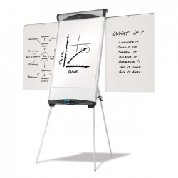 Acco Brands - EU500E - Quartet Euro Magnetic Presentation Easel, Whiteboard/Flipchart, 27 x 39, Silver Frame - 39 Height x 27 Width - Floor, Tabletop - Metal, Melamine - Silver
